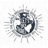 Ręka rysująca inspiracyjna kuli ziemskiej odznaka Zdjęcie Royalty Free