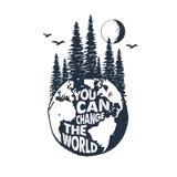 Ręka rysująca inspiracyjna odznaka z textured planety ziemi wektoru ilustracją Fotografia Stock