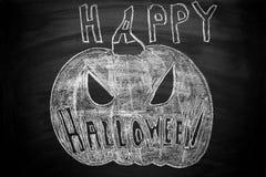 Ręka Rysująca Jack O lampionu kredy ilustracja na Blackboard Szczęśliwy Halloweenowy literowanie tekst 2007 pozdrowienia karty sz Fotografia Stock