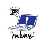 Ręka rysująca kaligrafia o ostrzeżeniu, malware i com powiadomienia, Zdjęcia Stock