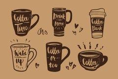 Ręka rysująca kaligrafia w kawowym etykietka secie Kawowy czas, napój Obrazy Royalty Free