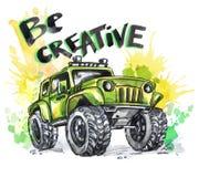 Ręka rysująca karta z dużym literowaniem i samochodem Słowa Byli Kreatywnie Akwareli multicolor ilustracja Aktywny szalony sport ilustracji