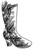 Ręka rysująca kobieta buta ilustracja Zdjęcia Stock