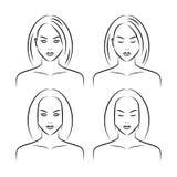 Ręka rysująca kobiety twarz Zdjęcia Stock