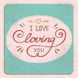 Ręka rysująca kocham kochać ciebie guote Fotografia Stock