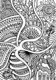 Ręka rysująca kolorystyka z kwiecistymi elementami Obraz Royalty Free