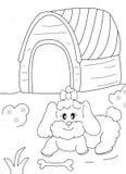 Ręka rysująca kolorystyki strona żeński pies, kość i doghouse, royalty ilustracja