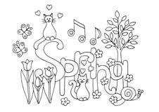 Ręka rysująca kolorystyki strona na wiosna temacie royalty ilustracja