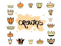 Ręka rysująca korony żółta pomarańczowa różna tiara ustawiająca dla princess Ślicznego odosobnionego diademu wektorowa ilustracja royalty ilustracja