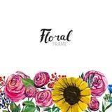 Ręka rysująca kwiat granica Zdjęcia Royalty Free
