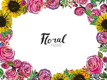 Ręka rysująca kwiat granica ilustracja wektor