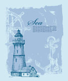 Ręka rysująca latarnia morska Obrazy Royalty Free