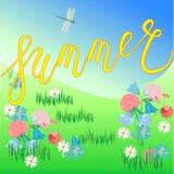 Ręka rysująca lato wycena Wektorowy plakat sezon z kwiatami Obrazy Royalty Free