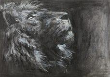 Ręka rysująca lew głowa royalty ilustracja