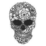 Ręka Rysująca Ludzka czaszka Robić od kwiatów Botaniki cranium Projekta element dla plakata, t koszula ilustracja wektor