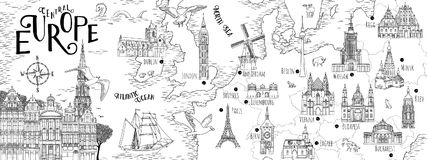 Ręka rysująca mapa Środkowy Europa Fotografia Stock