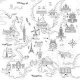 Ręka rysująca mapa Europa Fotografia Royalty Free