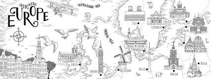 Ręka rysująca mapa Północny Europa Zdjęcia Stock