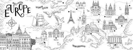 Ręka rysująca mapa Południowy Europa Fotografia Stock