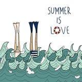 Ręka rysująca miłość w morzu Zdjęcie Royalty Free