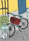 Ręka rysująca miasto ulica i rocznika bicykl Obrazy Stock
