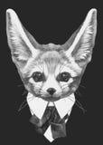 Ręka rysująca mody ilustracja fenek Fox ilustracja wektor