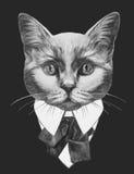 Ręka rysująca mody ilustracja kot ilustracji