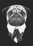 Ręka rysująca mody ilustracja mopsa pies royalty ilustracja