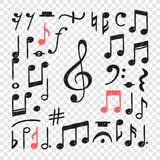 Ręka rysująca muzyka zauważa ilustrację Doodle set symbole Kreatywnie atrament sztuki praca Faktyczny wektorowy rysunek ilustracja wektor