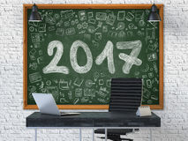 Ręka Rysująca 2017 na Biurowym Chalkboard 3d Fotografia Stock