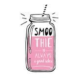 Ręka rysująca nakreślenie ilustracja Smoothie jest zawsze Fotografia Stock