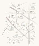 Ręka rysująca nakreślenie mapa ilustracji