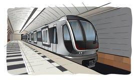 Ręka rysująca nakreślenie stacja metra z pociągiem zdjęcie stock