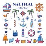 Ręka rysująca nautyczna kolekcja Morze i ocean Morski ikona set Zdjęcia Stock