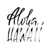 Ręka rysująca nowożytna szczotkarska inskrypcja aloha Hawaii Suchego muśnięcia ettering projekt dla plakatów, koszulki, karty, za Zdjęcie Royalty Free