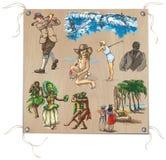 Ręka rysująca paczka, barwiona kreskowa sztuka - ludzie Obrazy Royalty Free