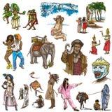 Ręka rysująca paczka, kreskowa sztuka - ludzie Obrazy Stock
