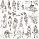 Ręka rysująca paczka, kreskowa sztuka - ludzie Obraz Stock