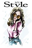 Ręka rysująca piękna młoda kobieta w okularach przeciwsłonecznych moda portret kobiety elegancka dziewczyna nakreślenie ilustracji