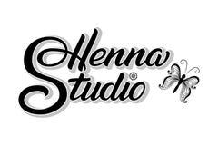 Ręka rysująca piszący list henny studio z cieniem Wektorowa atrament ilustracja Szablon dla tatuażu lub mehndi studia eleganckie ilustracja wektor
