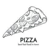 Ręka rysująca pizzy ikona Zdjęcia Stock