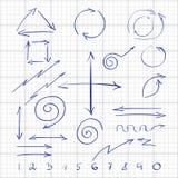Ręka rysująca podpisuje strzała i liczby dla sieci royalty ilustracja