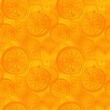 Ręka rysująca pomarańcze lub cytryny cytrusa owoc Bezszwowy tapetowy patt ilustracja wektor