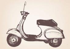 Ręka rysująca retro hulajnoga wektor ilustracji