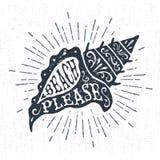 Ręka rysująca rocznik etykietka z textured konchy seashell wektoru ilustracją Fotografia Royalty Free
