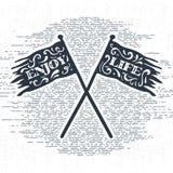 Ręka rysująca rocznik etykietka z textured krzyżującą flaga wektoru ilustracją Fotografia Royalty Free