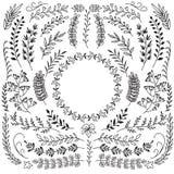 Ręka rysująca rozgałęzia się z liśćmi Dekoracyjne kwieciste wianek granicy ramy Nieociosany doodle wektoru set ilustracji