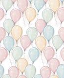 Ręka Rysująca Szybko się zwiększać wektoru wzór Samotny marznący drzewo Akwarela stylu projekt Latać balony Menchie, błękit, kolo ilustracja wektor