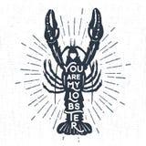 Ręka rysująca textured rocznik etykietkę z homara wektoru ilustracją Zdjęcie Stock