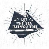 Ręka rysująca textured rocznik etykietkę z jachtu wektoru ilustracją Zdjęcie Royalty Free